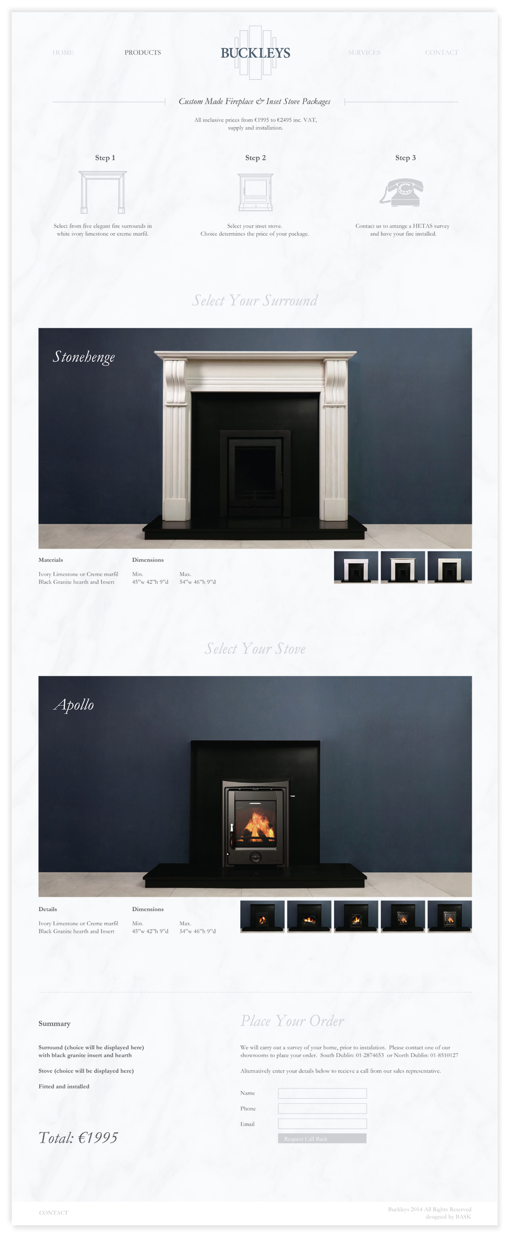 Buckleys website Fireplace Pacgages Page