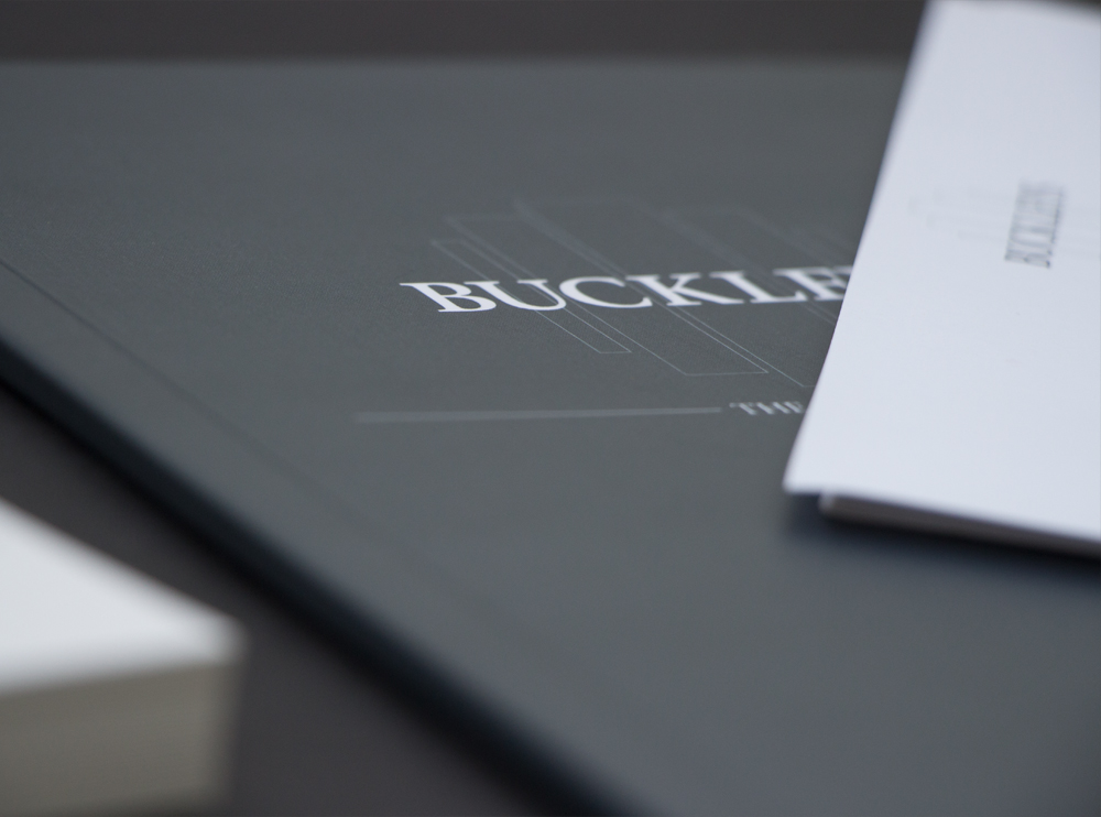 Close up of Buckleys logo on catalogue