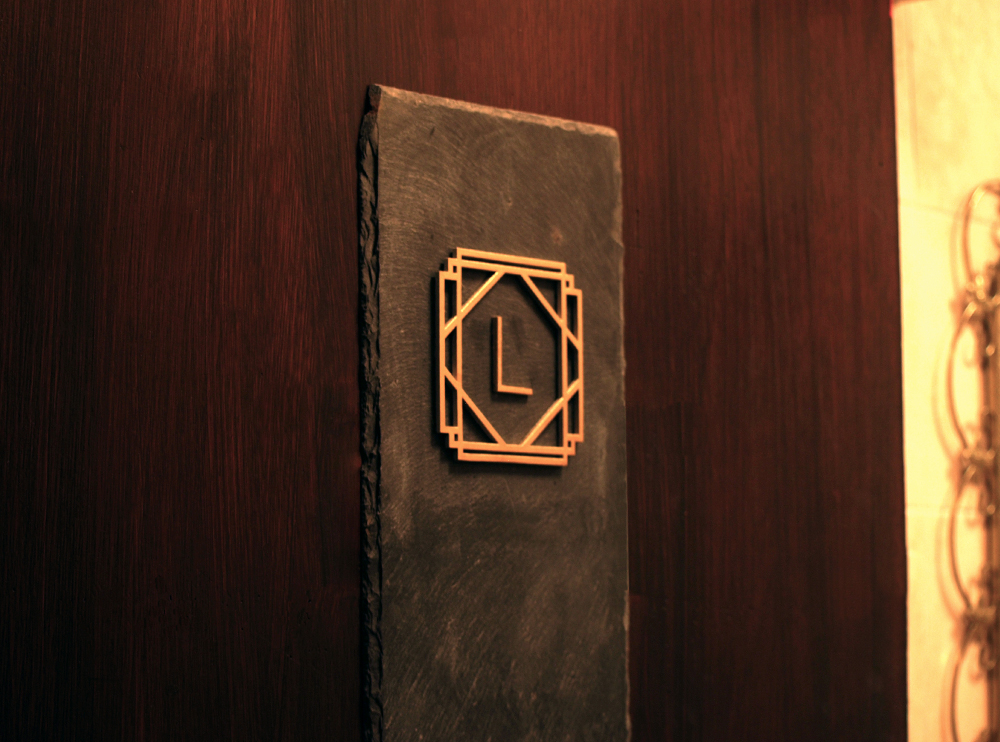 Slate and Brass Bathroom sign